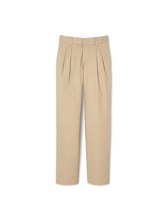 FRENCH TOAST - (Husky)  Adjustable Waist Pleated Double Knee Pants KHAKI