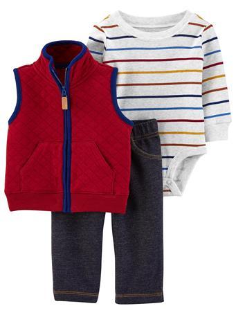 CARTER'S - 3 Piece Vest Set  MAROON