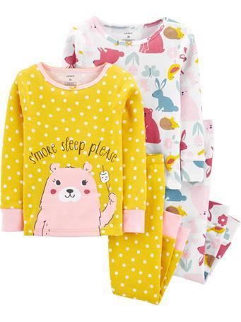 CARTER'S - 4 Piece Snug-Fit Cotton Pajama Set - Toddler Girl  NOVELTY