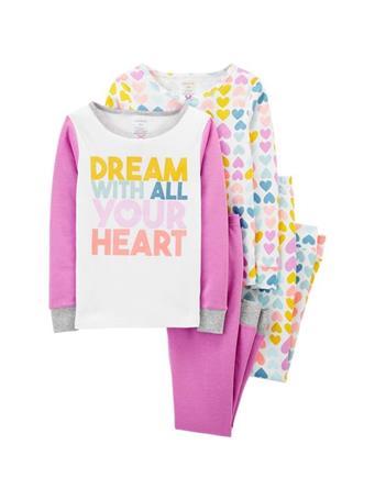 CARTER'S - 4 Piece Snug-Fit Cotton Pajama Set - Girl 5-8 NOVELTY