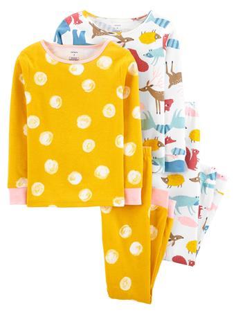 CARTER'S - 4 Piece Snug-Fit Cotton Pajama Set - Girl 5-8 YELLOW
