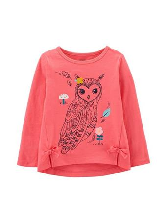 CARTER'S - Long Sleeve Owl Top - Toddler Girl PINK