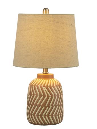 GANZ - Terracotta Diagonal Stripe Table Lamp BLUSH