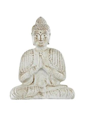UMA  - Large Buddha Statue in Distressed White WHITE