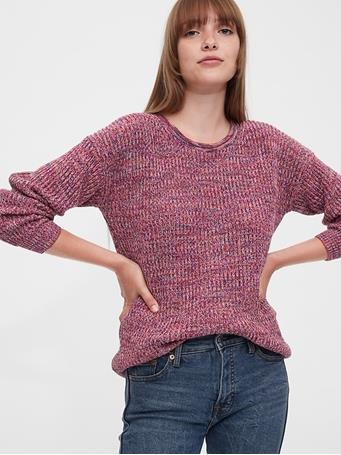 GAP - Relaxed Rollneck Shaker Sweater PINK-MARL