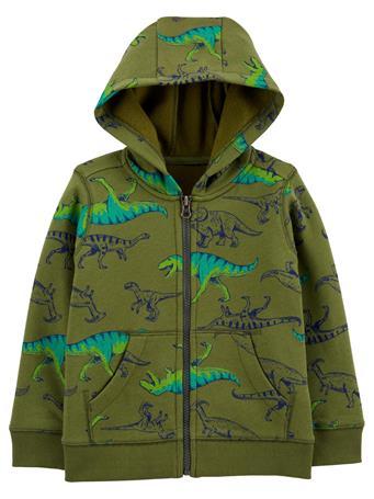 CARTER'S - Dinosaur Zip-Up Fleece-Lined Hoodie - Toddler Boy  GREEN