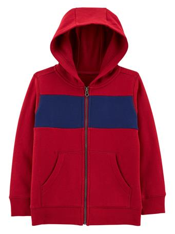 CARTER'S - Colourblock Full-Zip Fleece Hoodie - Boy 5-8 MAROON