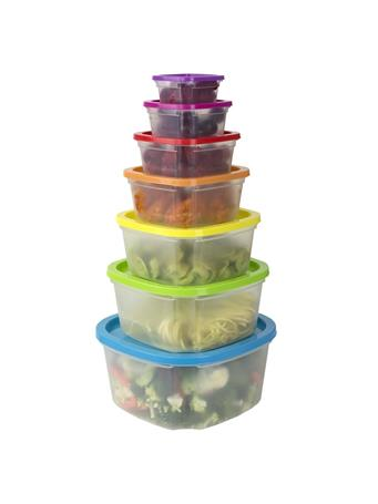 HOME BASICS -  7 Piece Plastic Storage Container with Multi - Colored Lids {#color}