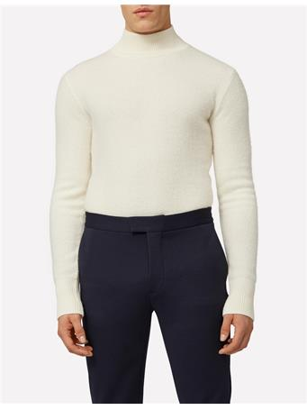 Funnel Boiled Wool Mock Neck