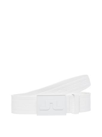 Logo White Leather Belt