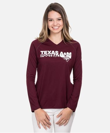 Adidas Texas A&M Sideline Grind Long Sleeve T-Shirt - Front Maroon