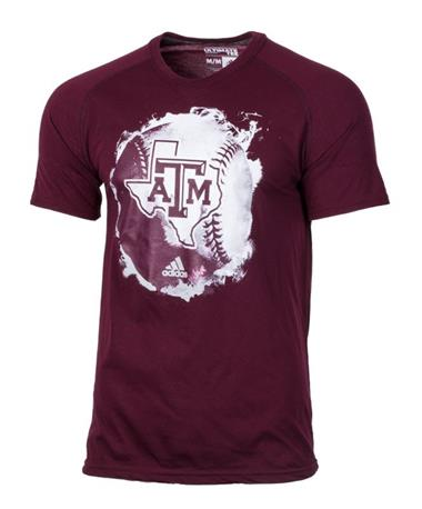 Adidas Texas A&M Fireball Baseball T-Shirt Maroon