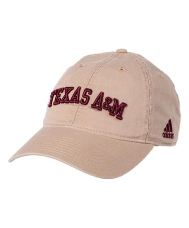Adidas Texas A&M Adjustable Slouch Cap Khaki Front Khaki