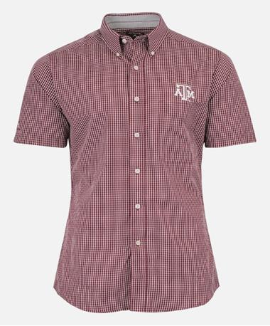Antigua Texas A&M Woven Button Down Shirt Maroon