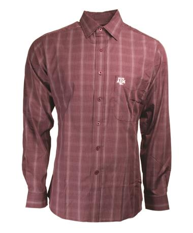 Texas A&M Agent Plaid Long Sleeve Button Down - Front Maroon/White