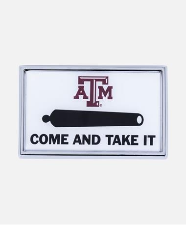 Texas A&M Come And Take It Auto Emblem White