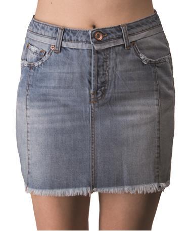 Eve Denim Mini Step Skirt Front Blue Jean