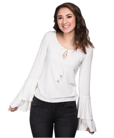 Ribbed Bell Sleeve Blouse - White - Front Ivory