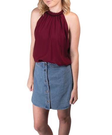 BB Dakota Women`s Macyn Soft Denim Skirt - Full Body Light Blue