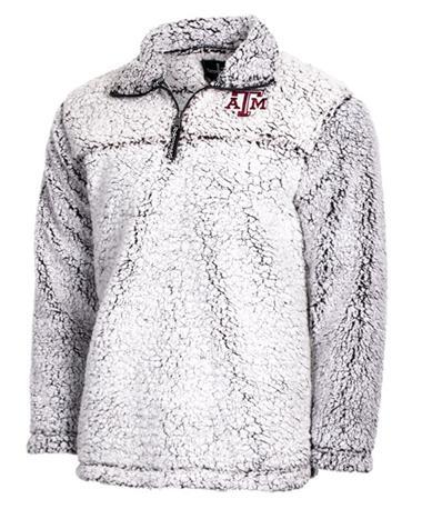Texas A&M Quarter Zip Unisex Sherpa Pullover Light Grey Front Light Grey