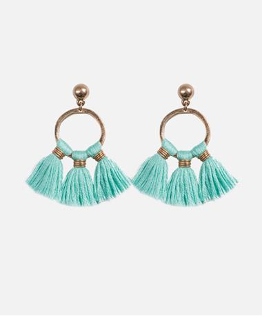 Tassel Trio Post Earrings Aqua Aqua