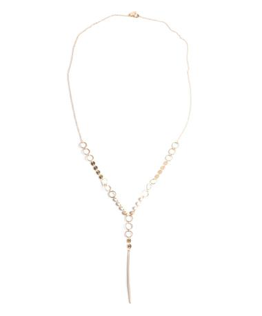 Linked Discs Spear Necklace - Gold Gold