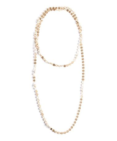 Endless Linked Disc Necklace - Gold Gold