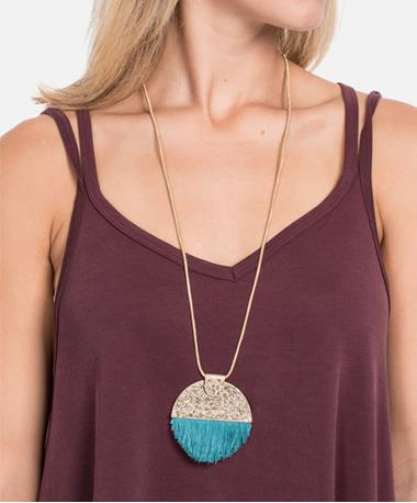 Semi Circle Pendant Tassel Necklace on Model Teal