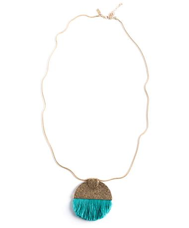 Semi Circle Pendant Tassel Necklace