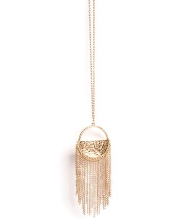 Half Moon Chain Fringe Necklace Gold