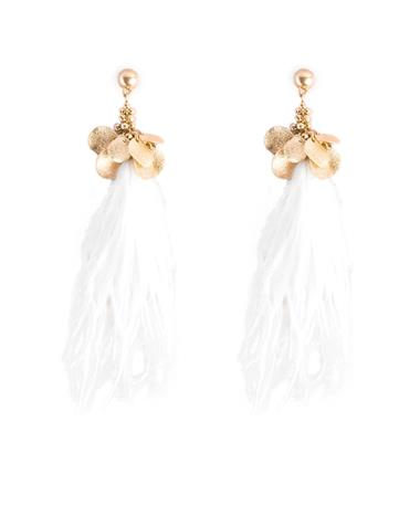 Sparkle Disc Linear Feather Earrings - Ivory Ivory