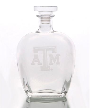 Texas A&M Aggie Etched Decanter Clear
