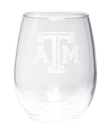Campus Crystal Texas A&M Aggies Stemless Wine Glass Clear