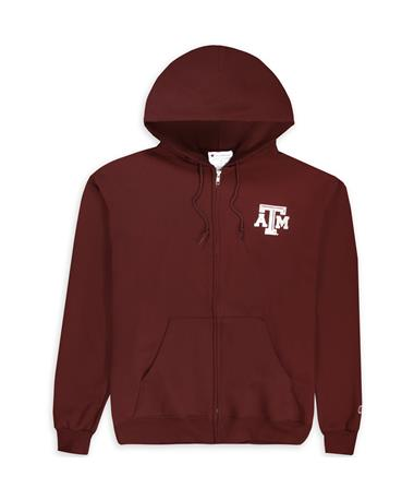 Texas A&M Champion Aggie Full Zip Hoodie Maroon