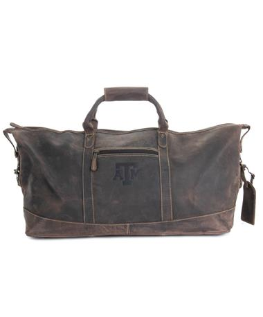 Canyon Texas A&M Little River Leather Duffel - Front Distressed Brow