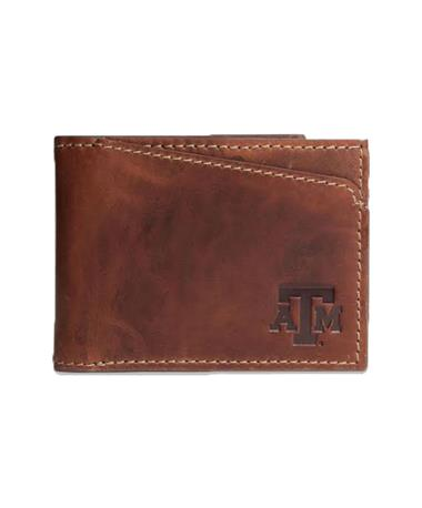 Canyon Texas A&M Sawtooth Leather Wallet Brown