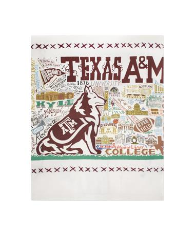 CatStudio Texas A&M Embroidered Dish Towel Cream