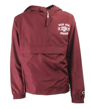 Youth Texas A&M Aggies Packable Quarter Zip Front Maroon