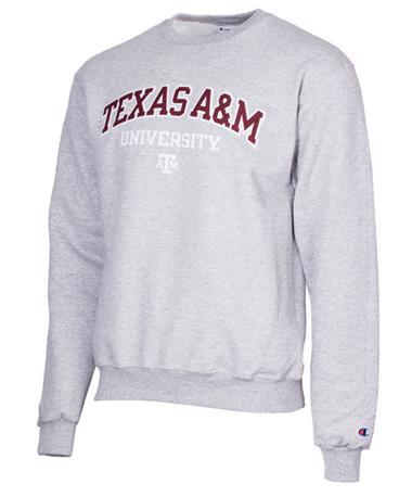 Champion Texas A&M Powerblend Crew Neck Sweatshirt Grey Grey
