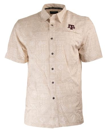 Texas A&M Aggie Larry Camp Shirt Light Khaki