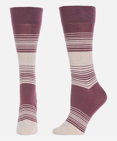 2 Color Stripe Cotton Socks Port