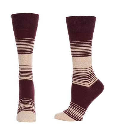 Lightweight Striped Cotton Socks - Port/Stone Port/Stone