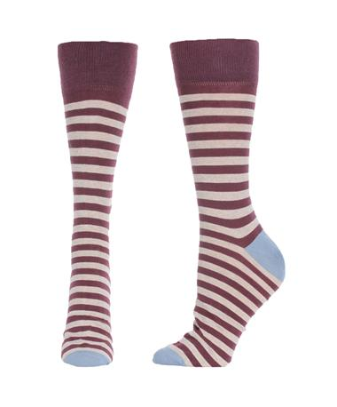 Lightweight Striped Cotton Socks Port/Stone/Blue