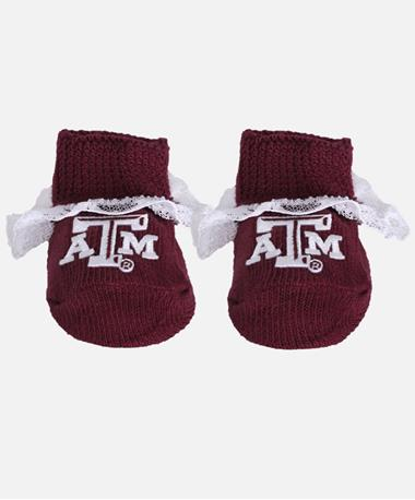 Texas A&M Lace Baby Booties Maroon/White