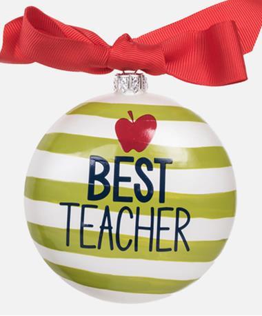 Coton Colors Best Teacher Ornament Neon Green