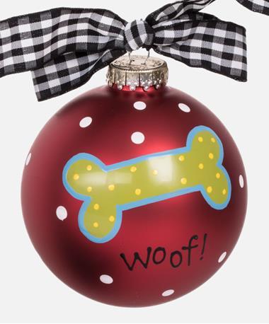 Coton Colors Woof Dog Bone Ornament Red