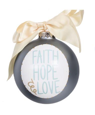 Coton Colors Faith Hope Love Ornament - Front Taupe