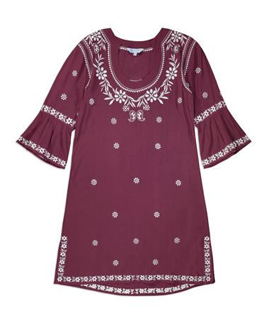 Maroon Escapada Embroidered Jillian Dress - Front Maroon
