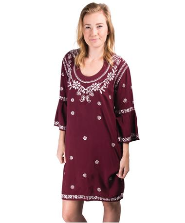 Escapada Embroidered Jillian Dress - Maroon - Front Maroon