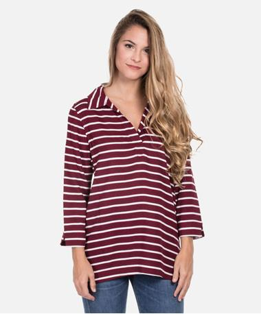Escapada Tampa 3 Quarter Sleeve Elodie Top - Maroon/White Stripe - Front Maroon/White TAMPA